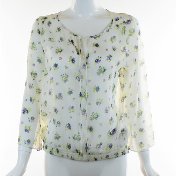 Jessica Simpson Tops Boho Sheer White Floral Blouse Poshmark
